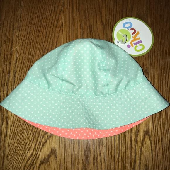 8f407824386 Baby Girls Aqua Coral Polkadot Sun Hat 6-12m NWT